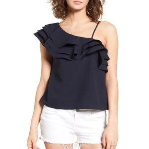 J.O.A. Los Angeles Ruffle Trim Shoulder Cami Top Blouse Navy Blue Polyester